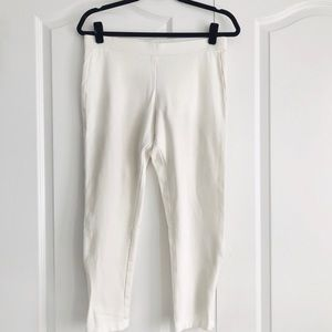 White Pull On Ankle Zip Slim Knit Pants Size M